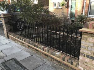 Wrought Iron Railings & Brick Pillars
